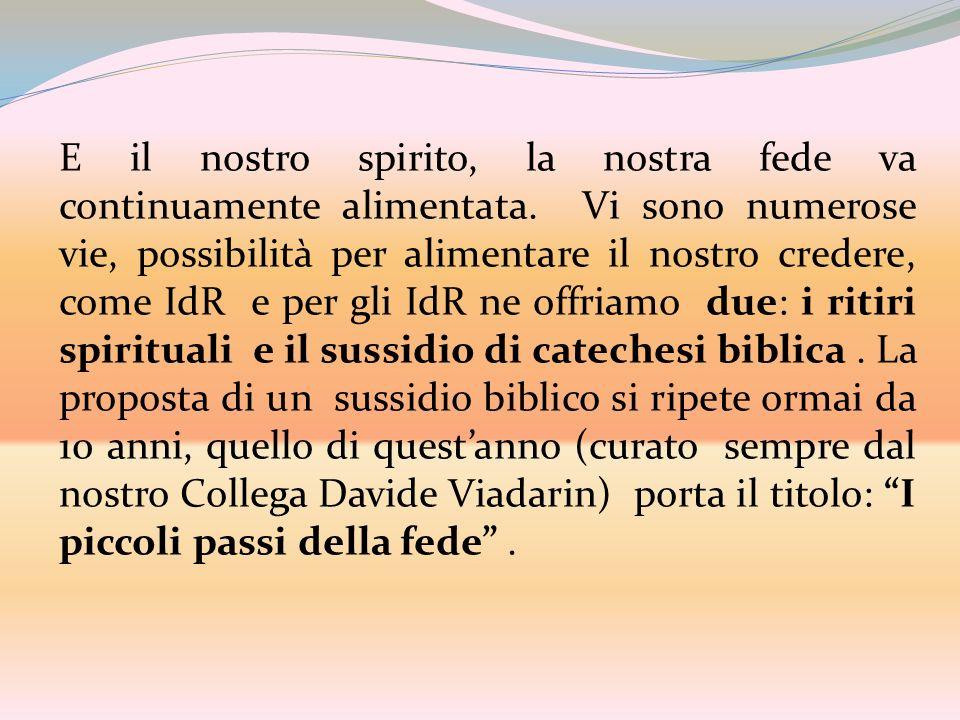 E il nostro spirito, la nostra fede va continuamente alimentata