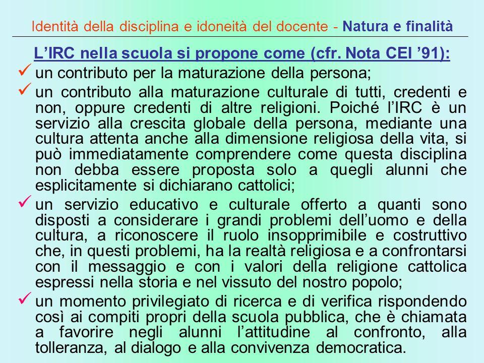 Identità della disciplina e idoneità del docente - Natura e finalità