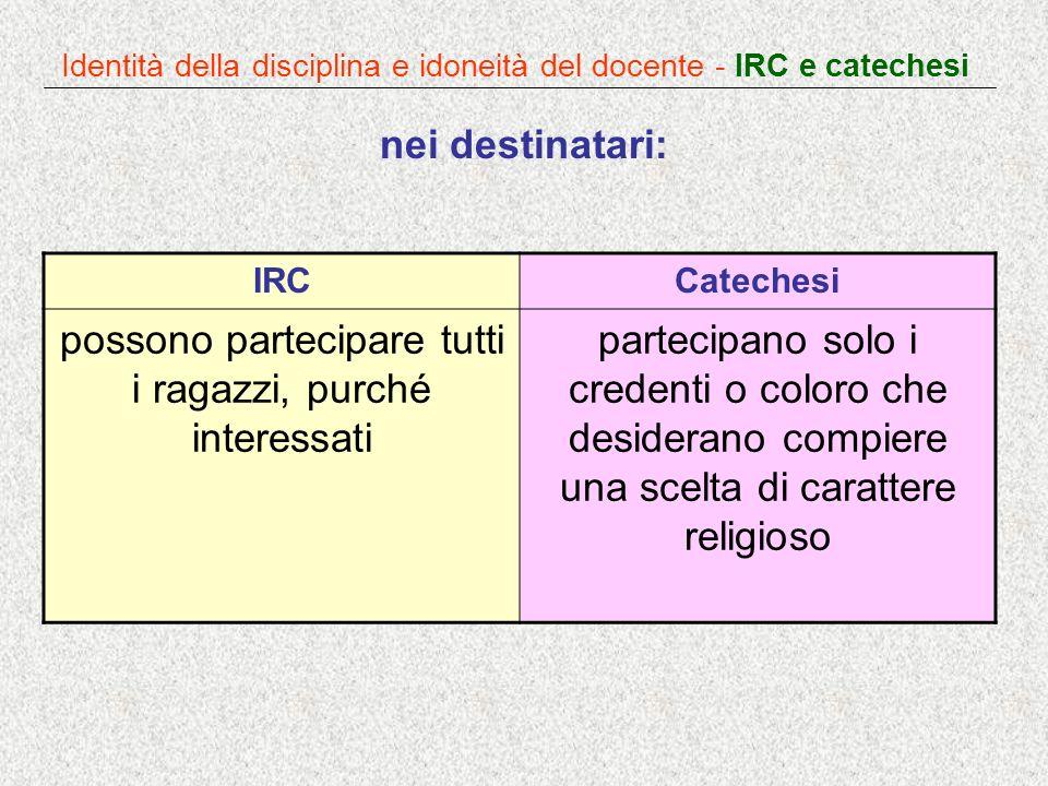 Identità della disciplina e idoneità del docente - IRC e catechesi