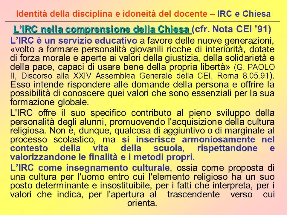 Identità della disciplina e idoneità del docente – IRC e Chiesa