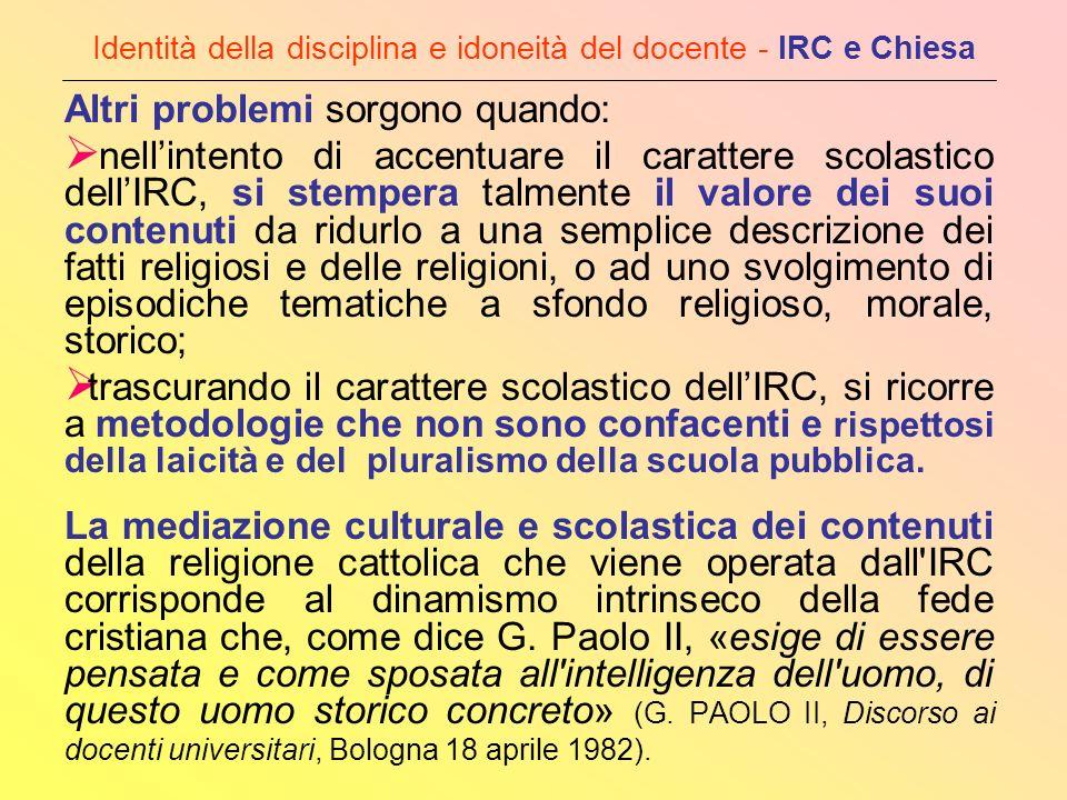 Identità della disciplina e idoneità del docente - IRC e Chiesa