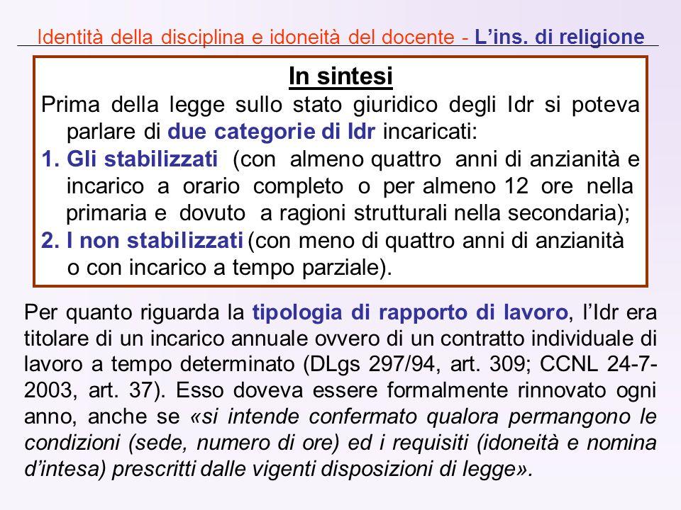 Identità della disciplina e idoneità del docente - L'ins. di religione