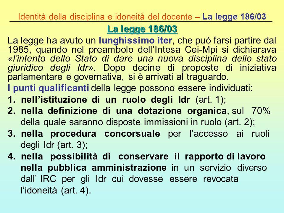 Identità della disciplina e idoneità del docente – La legge 186/03