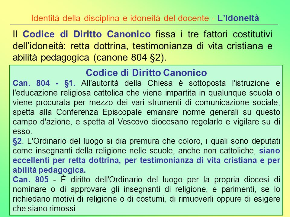 Identità della disciplina e idoneità del docente - L'idoneità