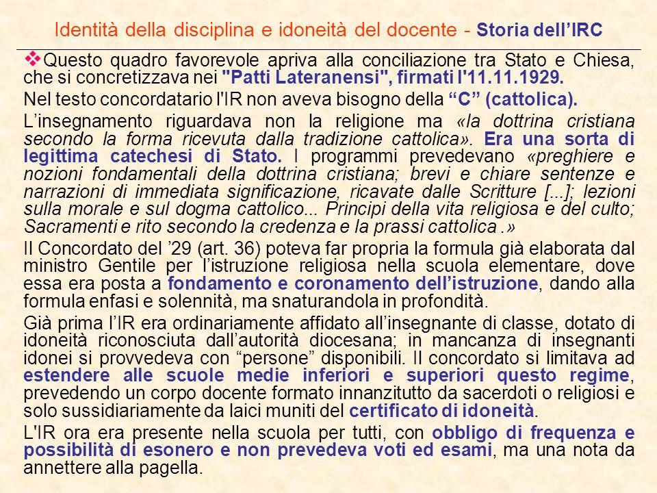 Identità della disciplina e idoneità del docente - Storia dell'IRC