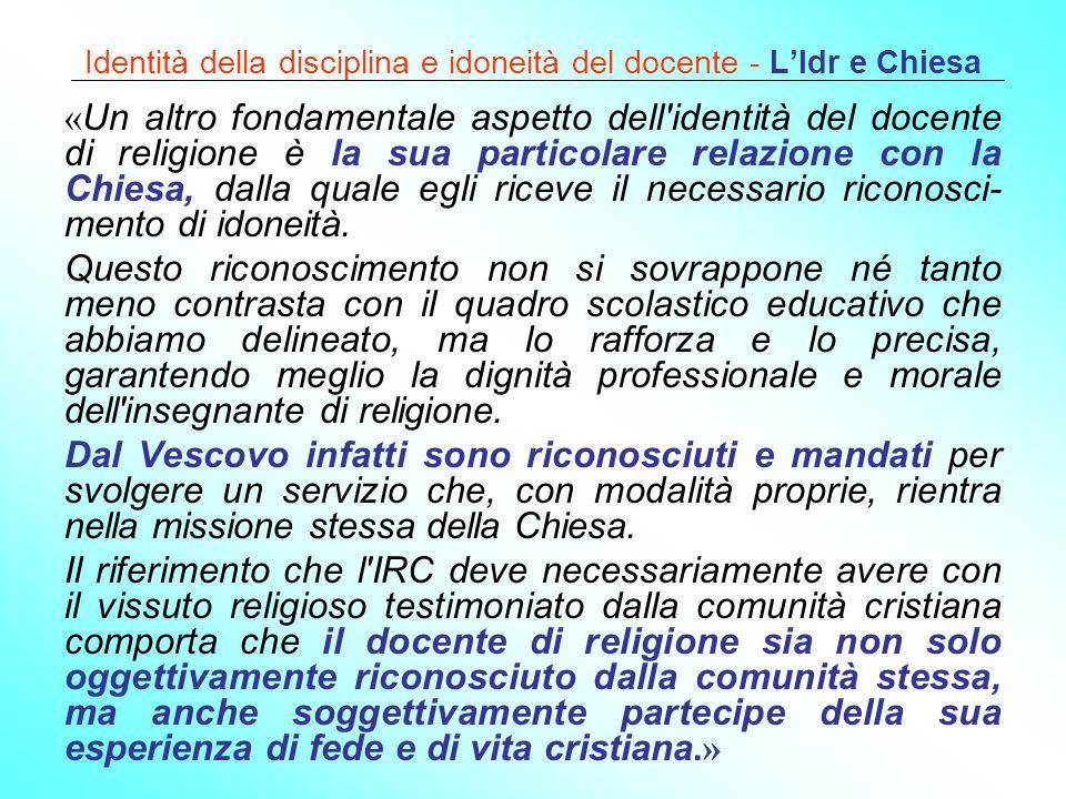 Identità della disciplina e idoneità del docente - L'Idr e Chiesa