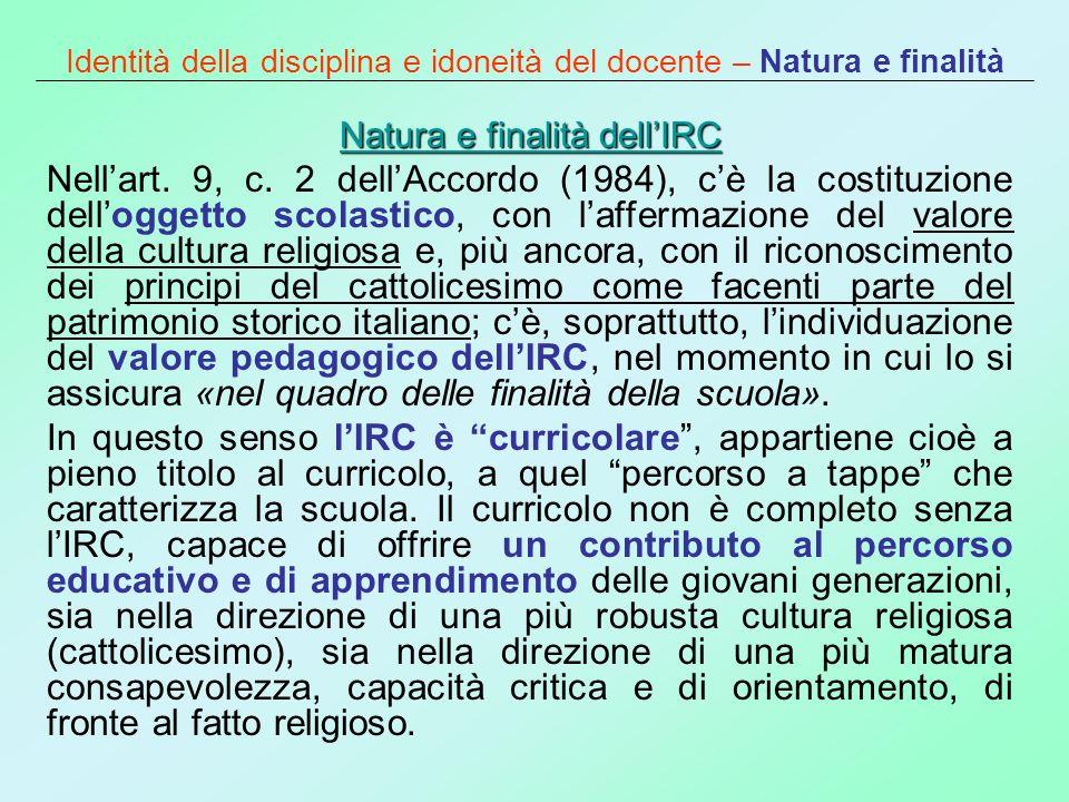 Identità della disciplina e idoneità del docente – Natura e finalità