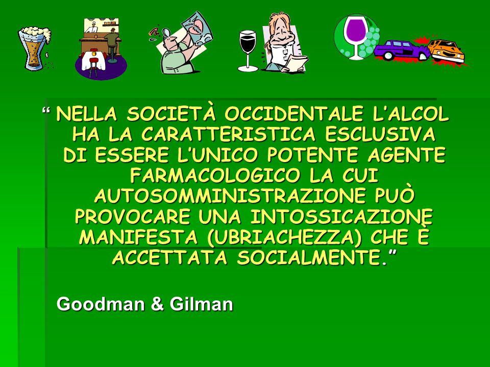 NELLA SOCIETÀ OCCIDENTALE L'ALCOL HA LA CARATTERISTICA ESCLUSIVA DI ESSERE L'UNICO POTENTE AGENTE FARMACOLOGICO LA CUI AUTOSOMMINISTRAZIONE PUÒ PROVOCARE UNA INTOSSICAZIONE MANIFESTA (UBRIACHEZZA) CHE È ACCETTATA SOCIALMENTE.