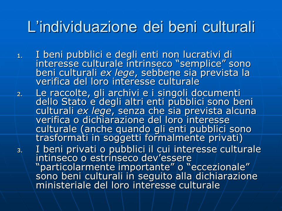 L'individuazione dei beni culturali