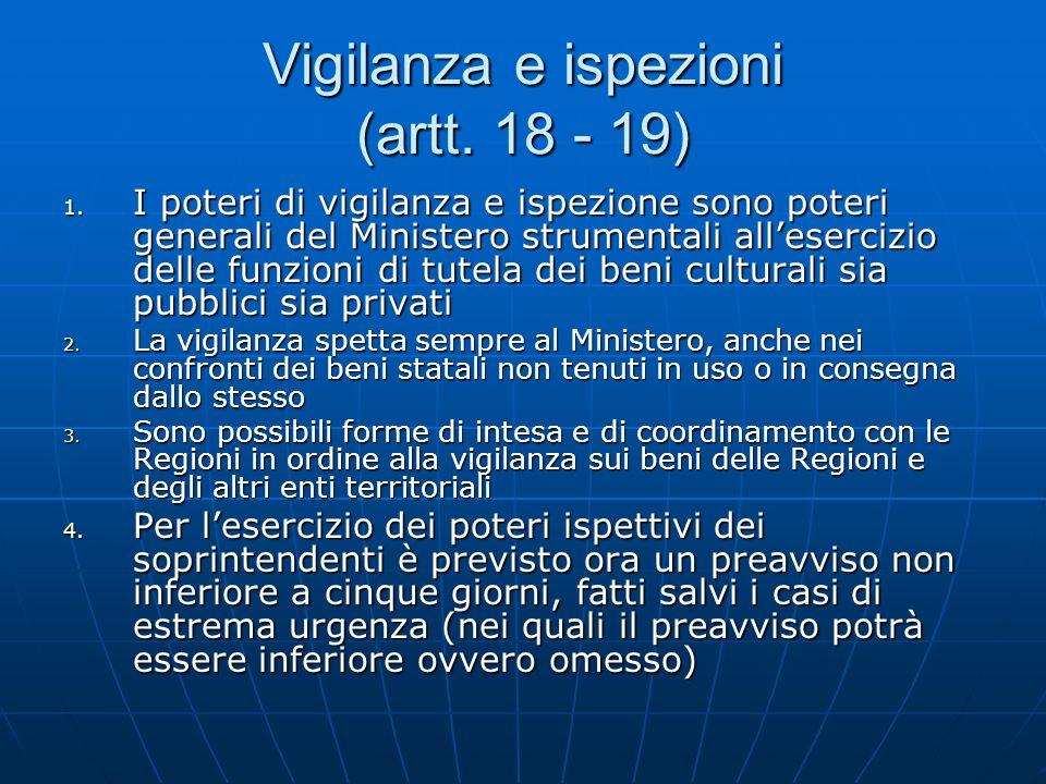 Vigilanza e ispezioni (artt. 18 - 19)