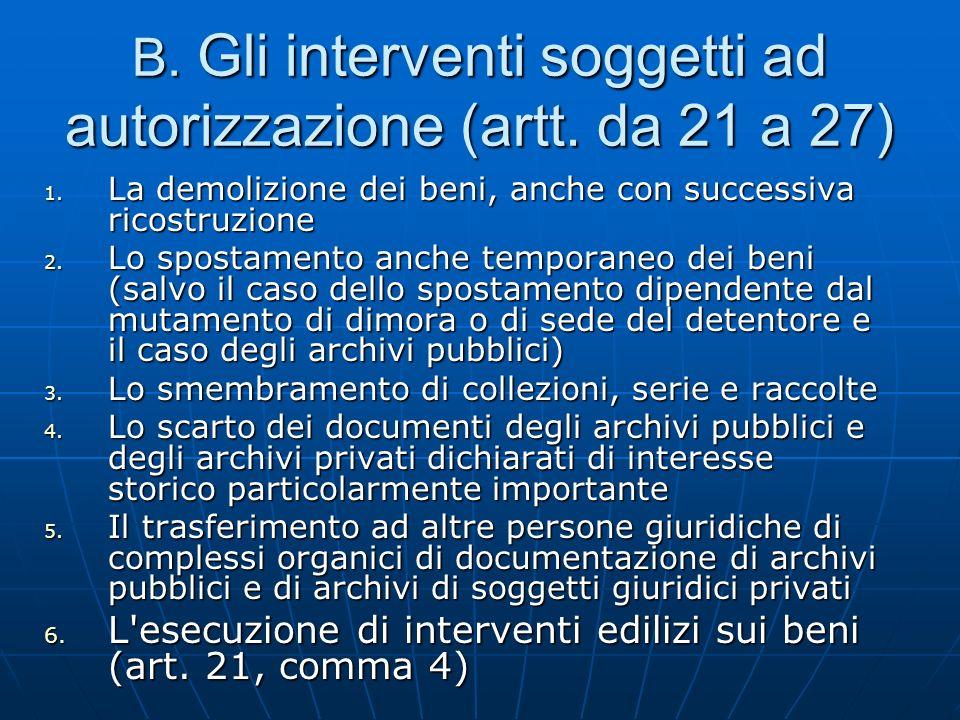 B. Gli interventi soggetti ad autorizzazione (artt. da 21 a 27)
