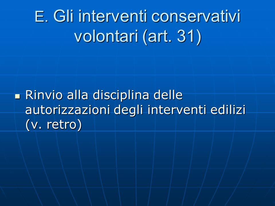E. Gli interventi conservativi volontari (art. 31)