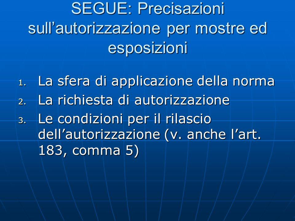 SEGUE: Precisazioni sull'autorizzazione per mostre ed esposizioni
