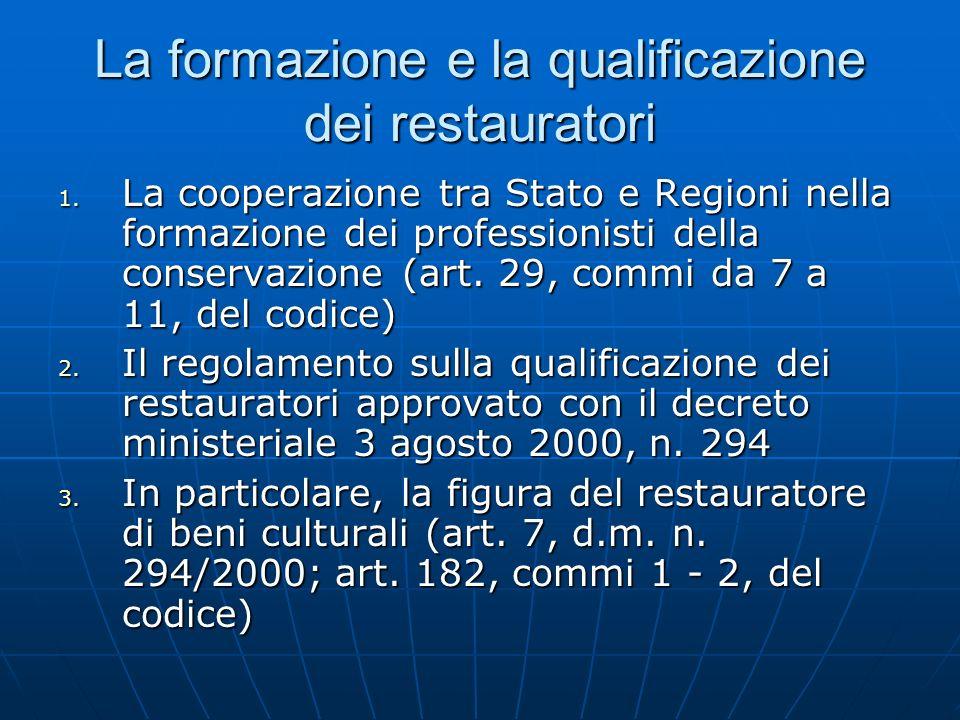 La formazione e la qualificazione dei restauratori