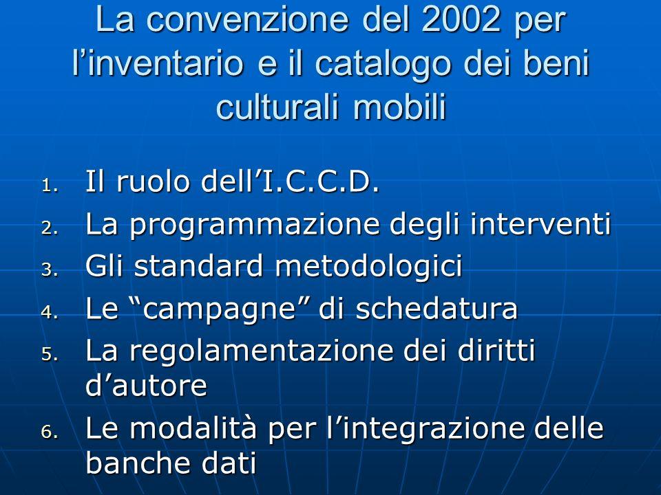 La convenzione del 2002 per l'inventario e il catalogo dei beni culturali mobili