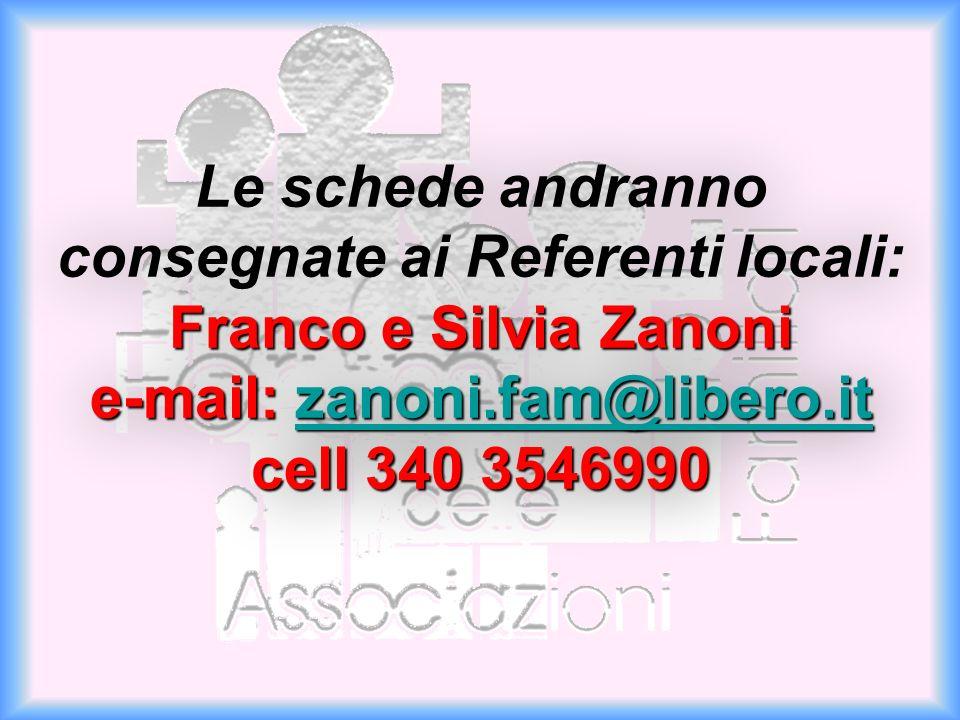 Le schede andranno consegnate ai Referenti locali: Franco e Silvia Zanoni e-mail: zanoni.fam@libero.it cell 340 3546990