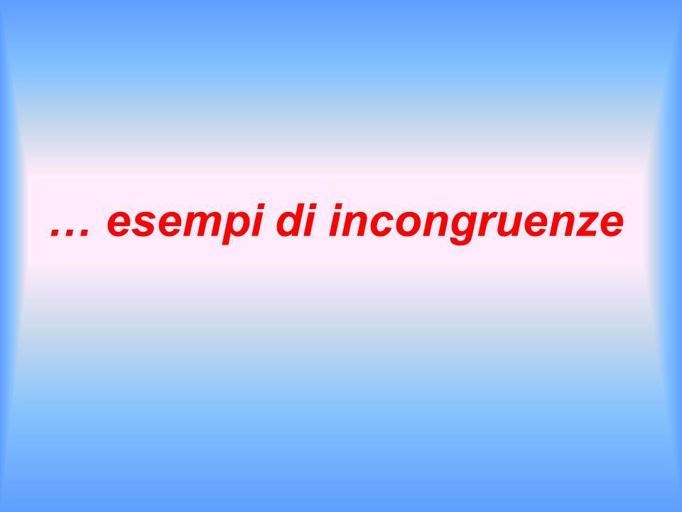 … esempi di incongruenze