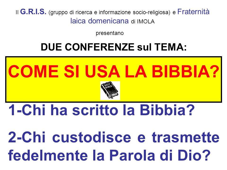 DUE CONFERENZE sul TEMA: