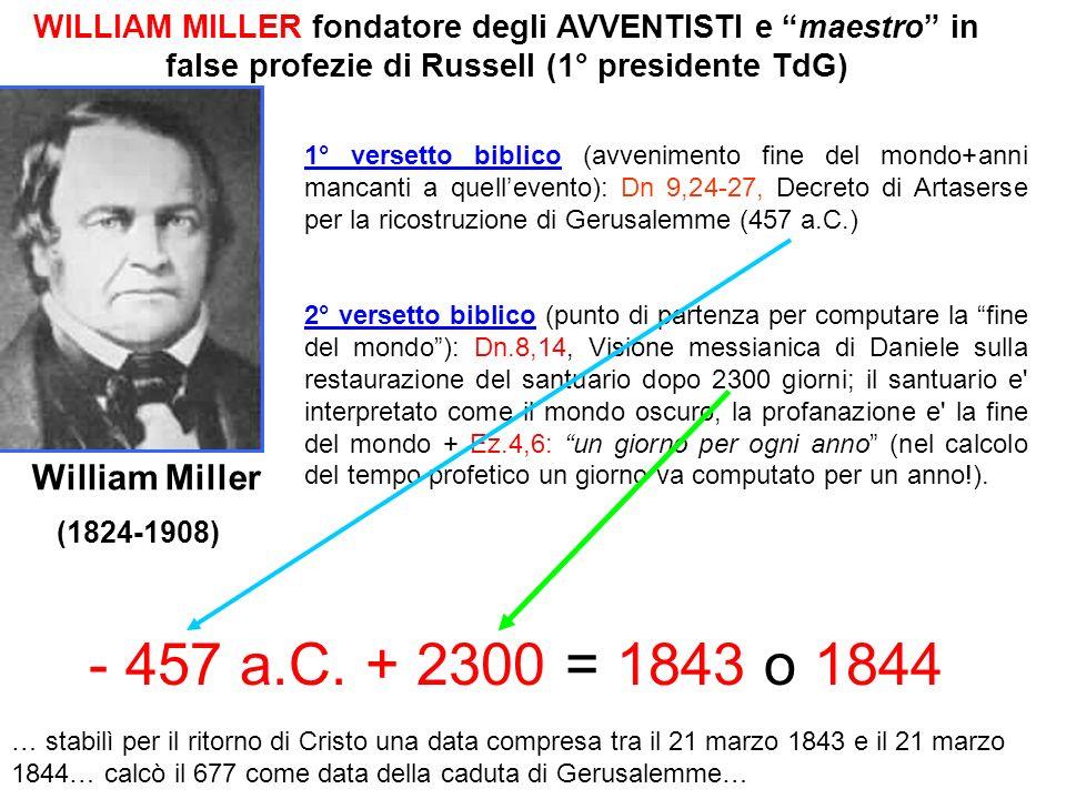 WILLIAM MILLER fondatore degli AVVENTISTI e maestro in false profezie di Russell (1° presidente TdG)