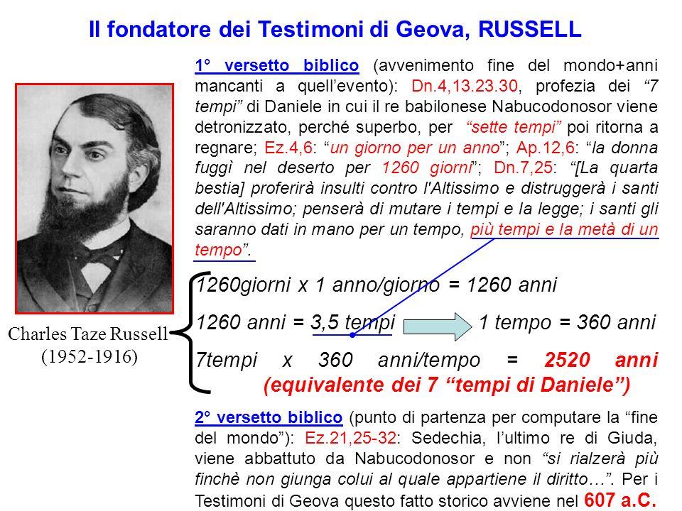 Il fondatore dei Testimoni di Geova, RUSSELL