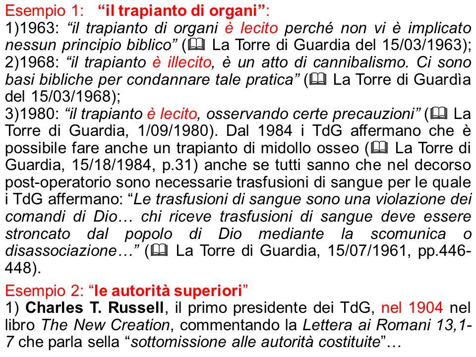 Esempio 1: il trapianto di organi :