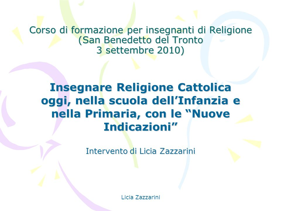 Intervento di Licia Zazzarini