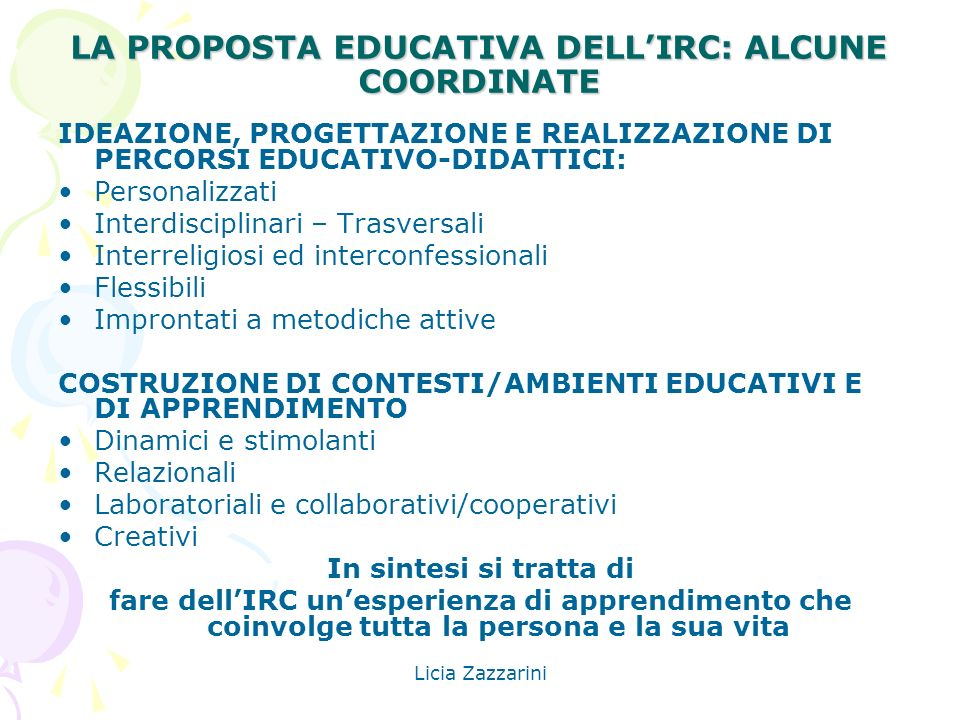 LA PROPOSTA EDUCATIVA DELL'IRC: ALCUNE COORDINATE