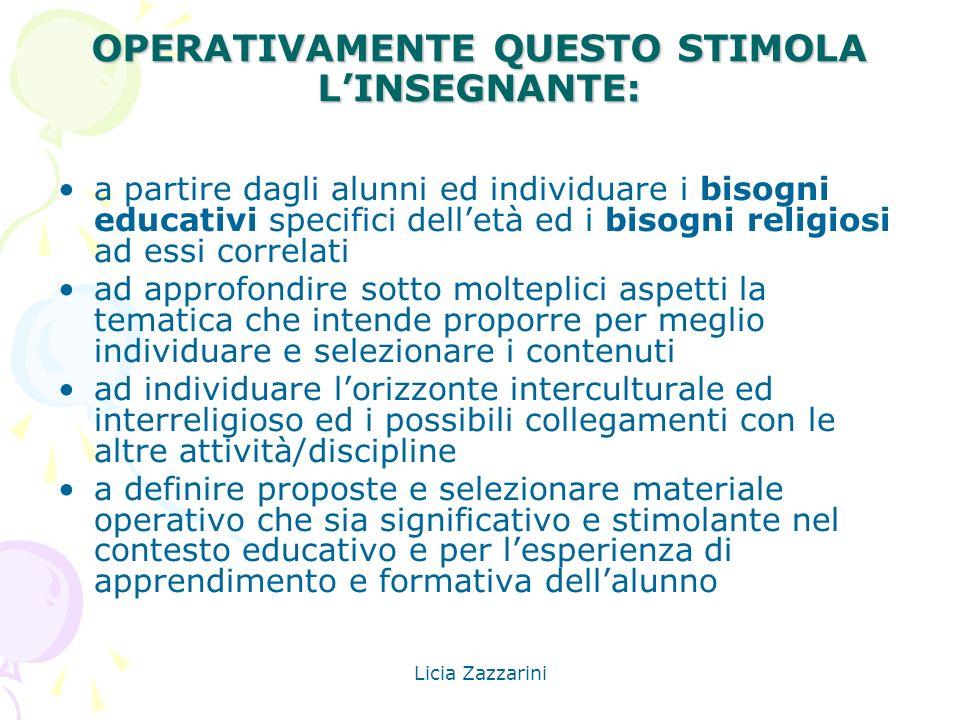 OPERATIVAMENTE QUESTO STIMOLA L'INSEGNANTE: