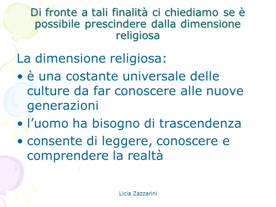 La dimensione religiosa: