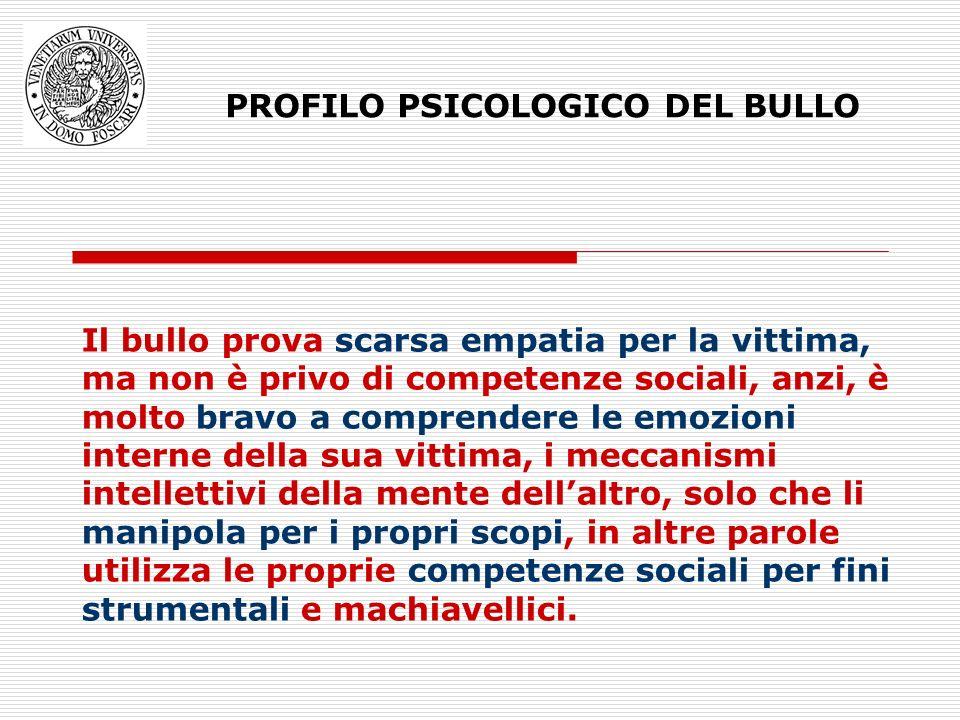 PROFILO PSICOLOGICO DEL BULLO