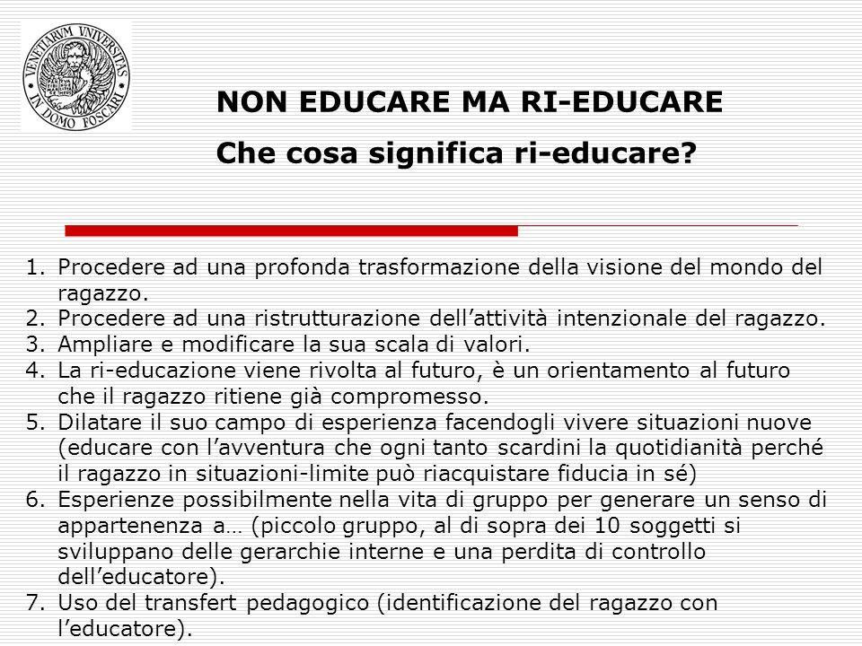 NON EDUCARE MA RI-EDUCARE Che cosa significa ri-educare