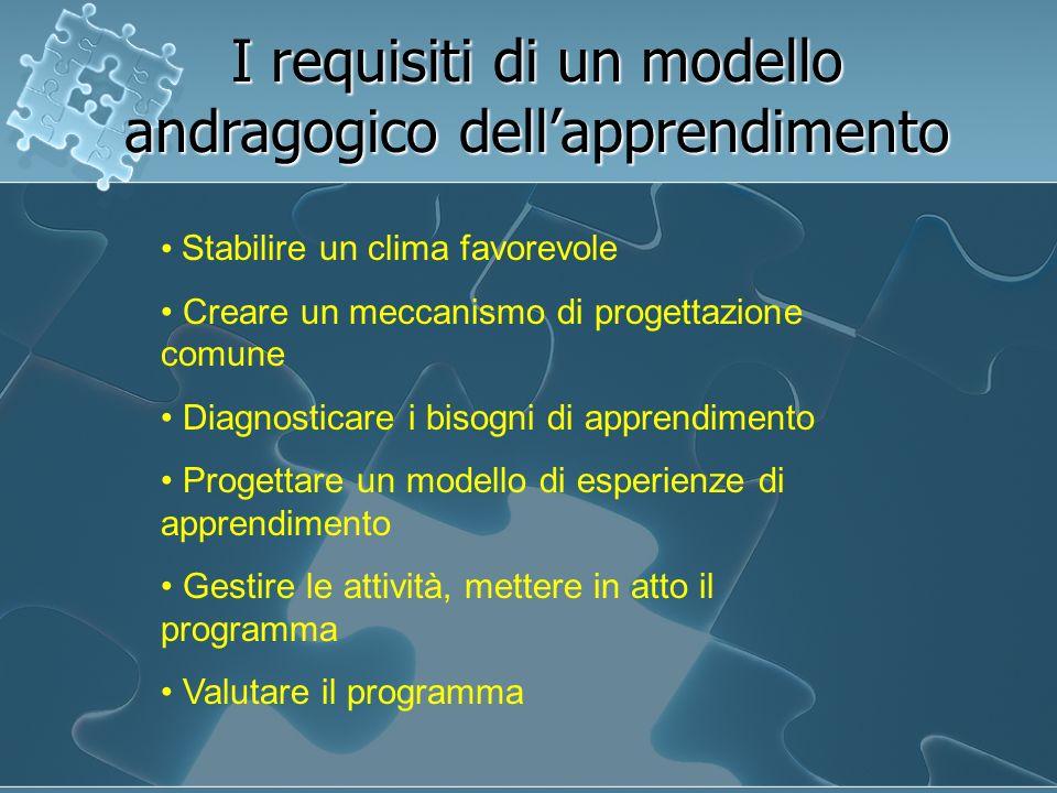 I requisiti di un modello andragogico dell'apprendimento