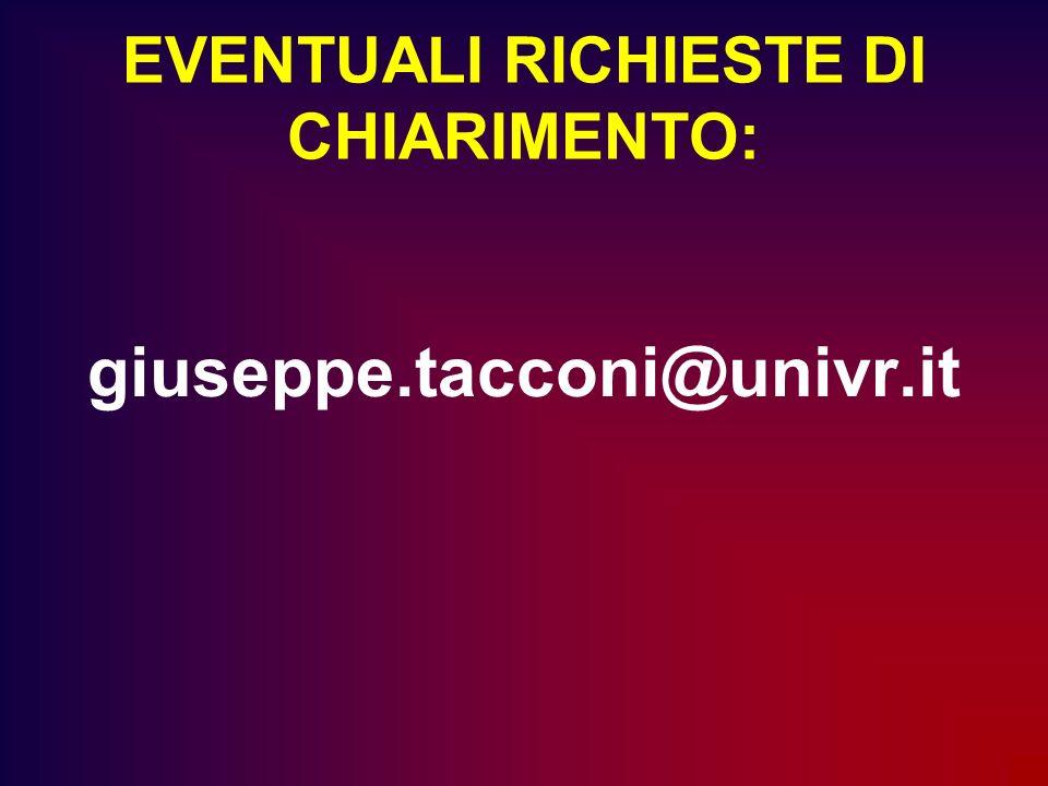 EVENTUALI RICHIESTE DI CHIARIMENTO: