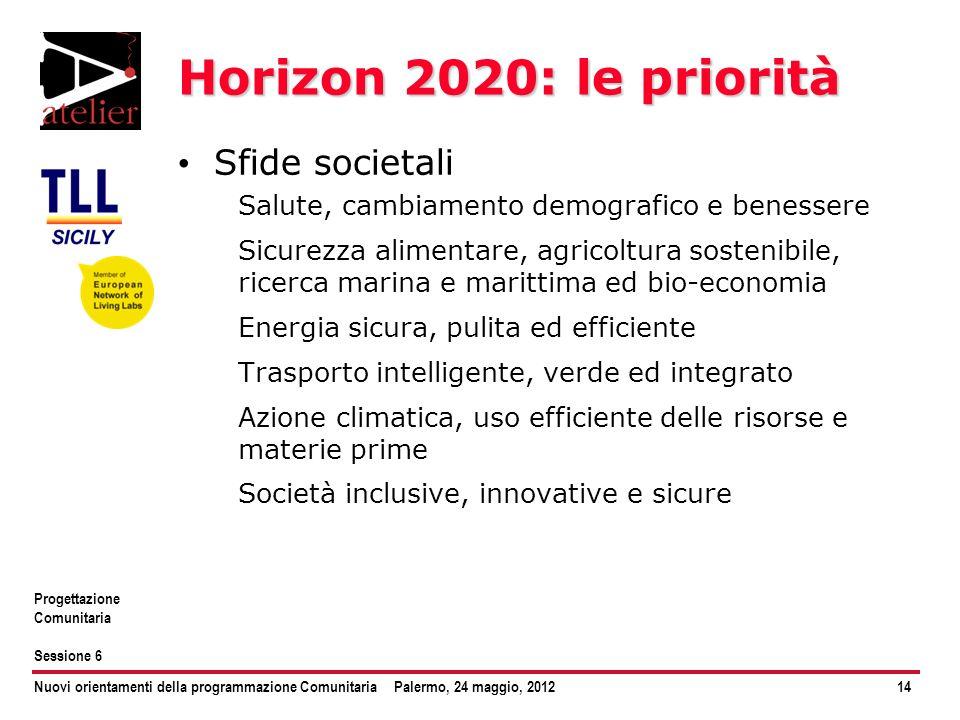 Horizon 2020: le priorità Sfide societali