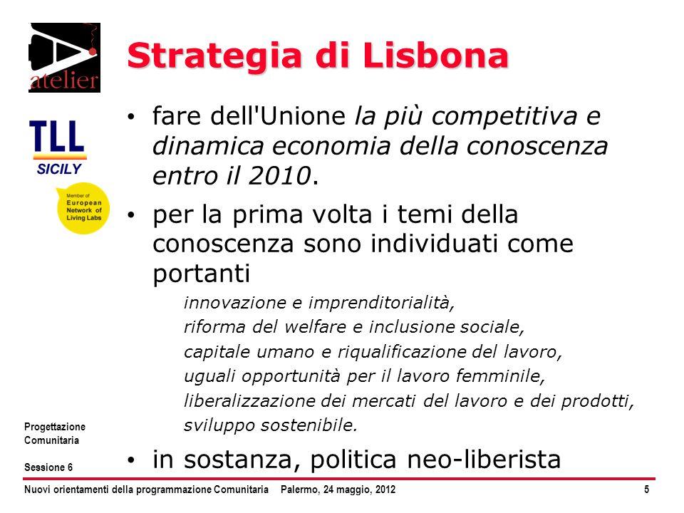 Strategia di Lisbona fare dell Unione la più competitiva e dinamica economia della conoscenza entro il 2010.