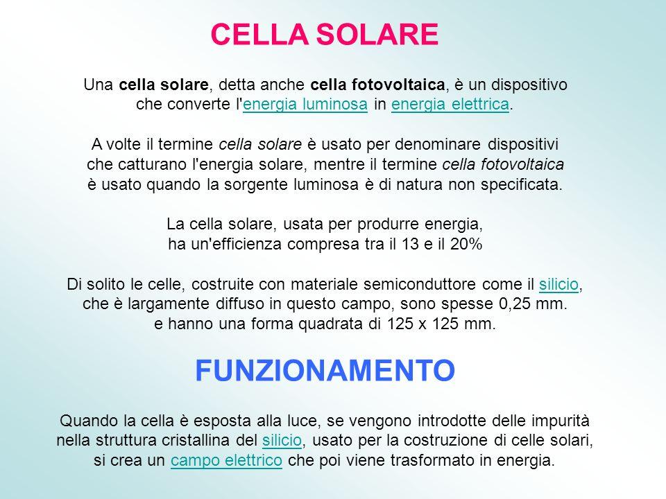 CELLA SOLARE FUNZIONAMENTO