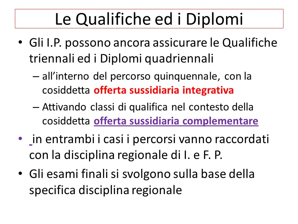 Le Qualifiche ed i Diplomi