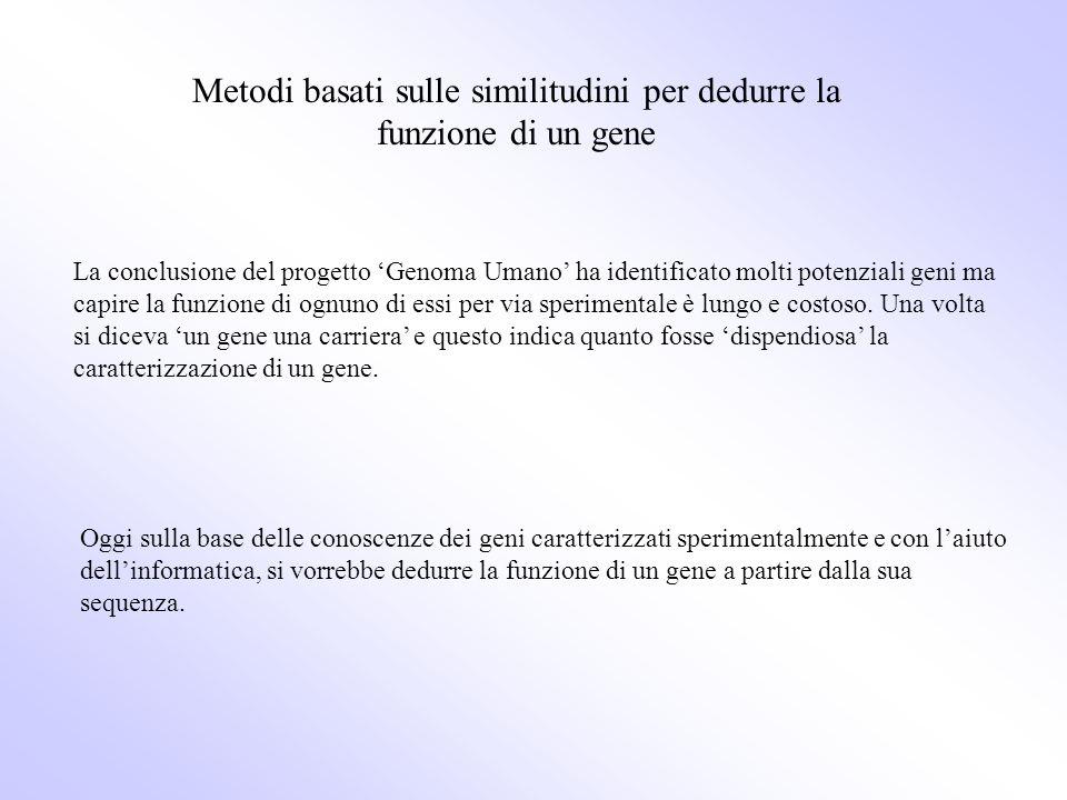 Metodi basati sulle similitudini per dedurre la funzione di un gene