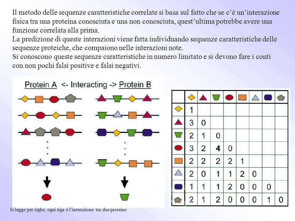 Il metodo delle sequenze caratteristiche correlate si basa sul fatto che se c'è un'interazione fisica tra una proteina conosciuta e una non conosciuta, quest'ultima potrebbe avere una funzione correlata alla prima.