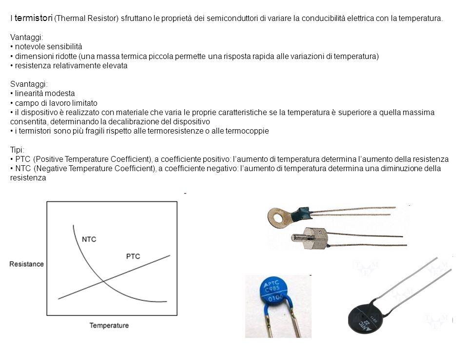 I termistori (Thermal Resistor) sfruttano le proprietà dei semiconduttori di variare la conducibilità elettrica con la temperatura.