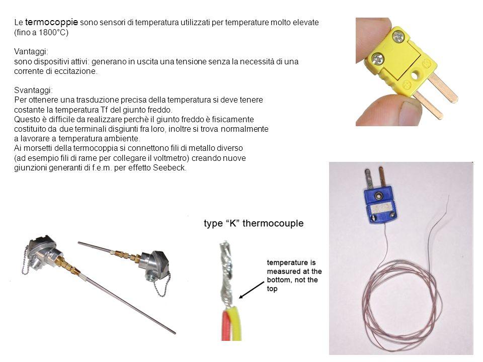 Le termocoppie sono sensori di temperatura utilizzati per temperature molto elevate