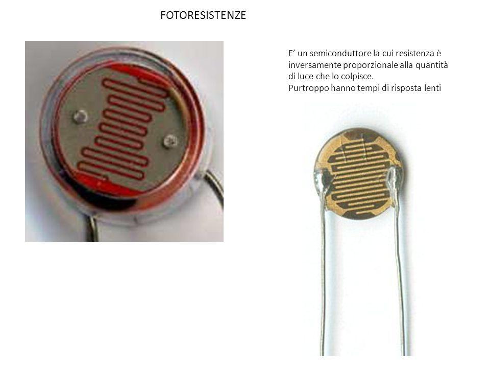 FOTORESISTENZE E' un semiconduttore la cui resistenza è inversamente proporzionale alla quantità di luce che lo colpisce.
