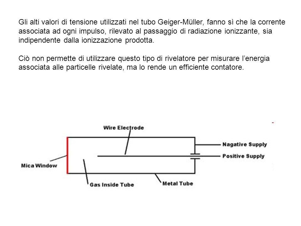 Gli alti valori di tensione utilizzati nel tubo Geiger-Müller, fanno sì che la corrente associata ad ogni impulso, rilevato al passaggio di radiazione ionizzante, sia indipendente dalla ionizzazione prodotta.