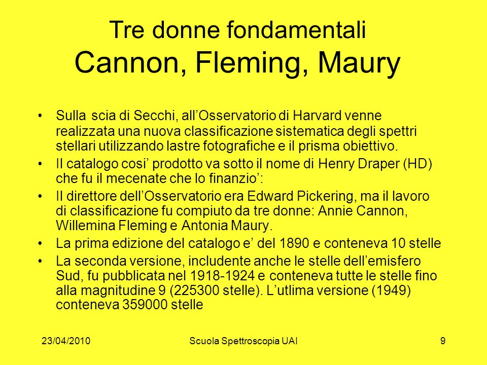 Tre donne fondamentali Cannon, Fleming, Maury