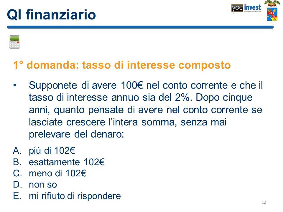QI finanziario 1° domanda: tasso di interesse composto