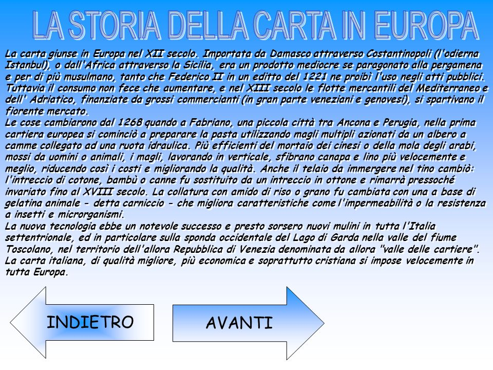 LA STORIA DELLA CARTA IN EUROPA