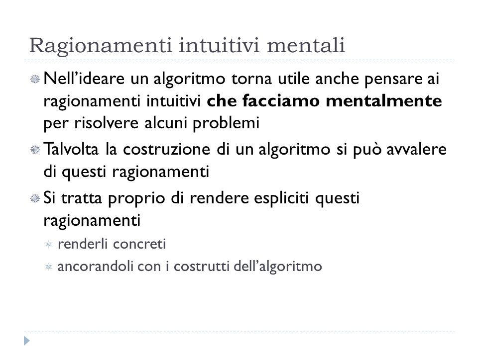 Ragionamenti intuitivi mentali