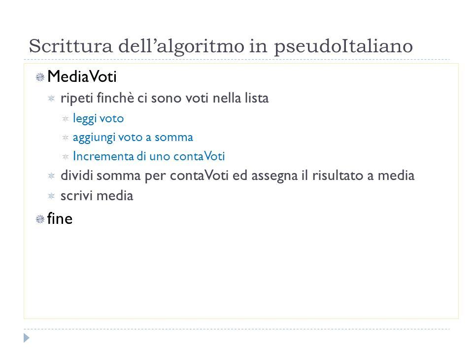 Scrittura dell'algoritmo in pseudoItaliano