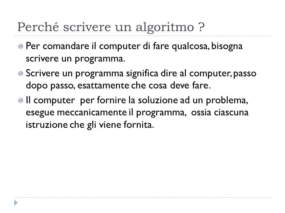 Perché scrivere un algoritmo