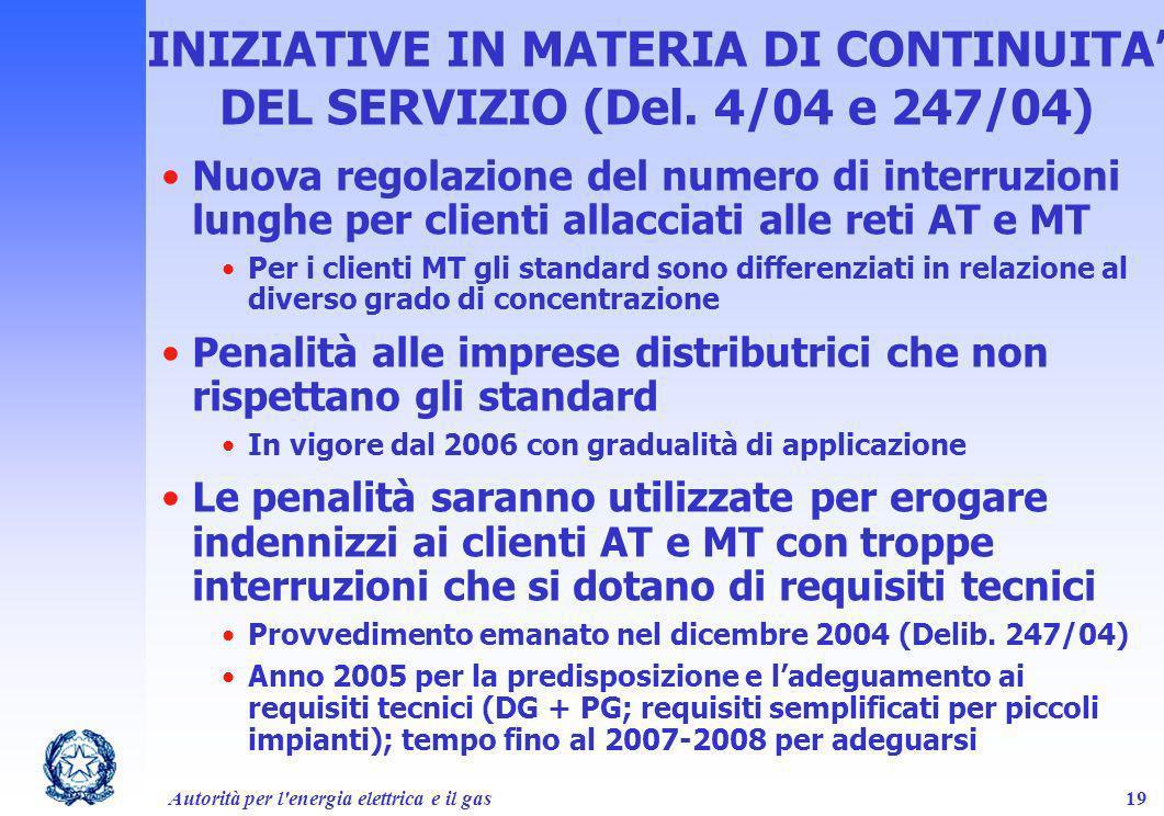 INIZIATIVE IN MATERIA DI CONTINUITA' DEL SERVIZIO (Del. 4/04 e 247/04)